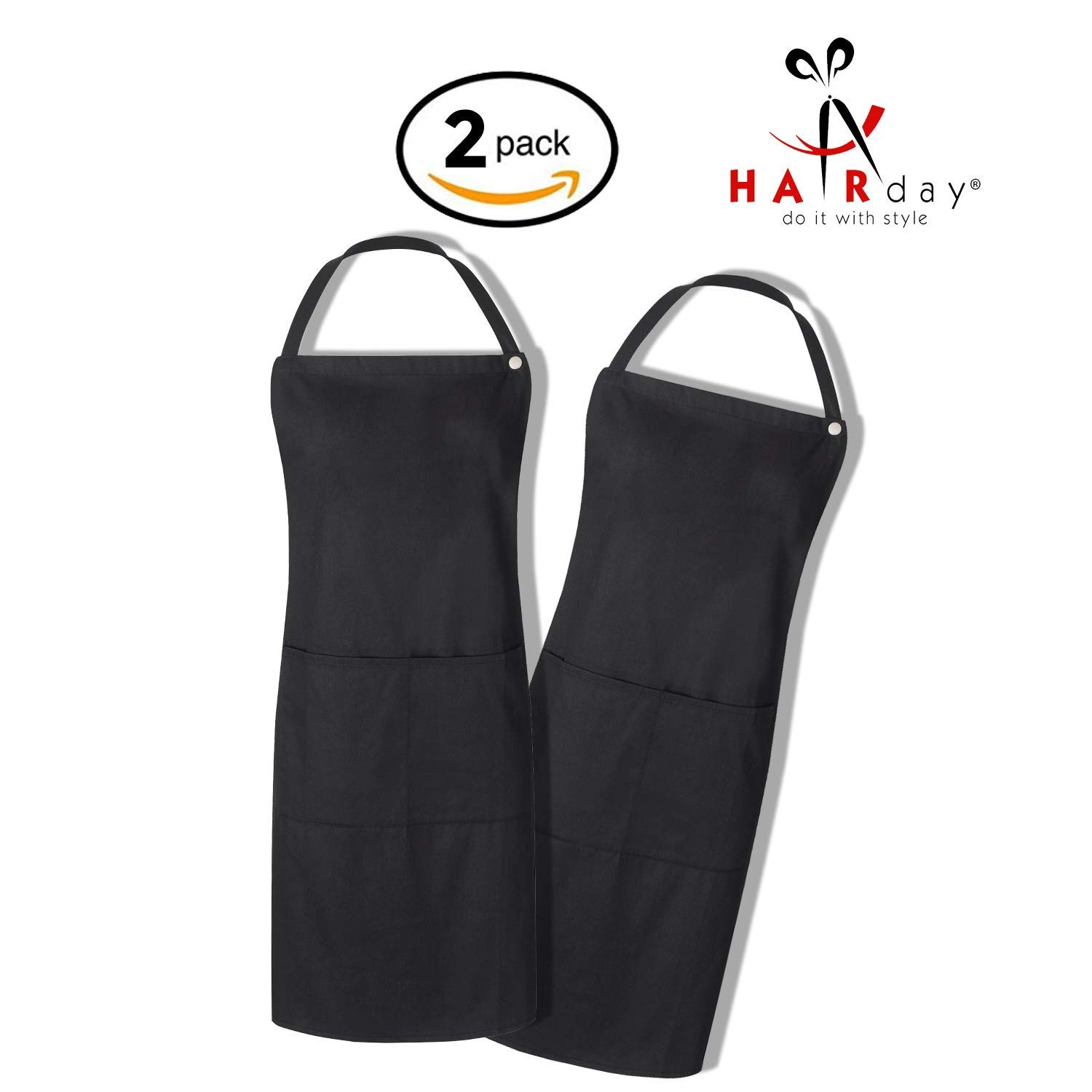 Black Bib Apron (2 Pack) With Pockets and Snap Closure – 100% Cotton Reusable and Washable Smock for Hairstylists, Barbers, Salons, Kitchens and More, Adjustable Ties, Men's and Women's - HairDay