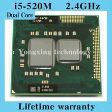 Lifetime warranty Dual Core i5 520M 2.4GHz 520 Notebook processors Laptop CPU PGA 988 Official version  Computer Original