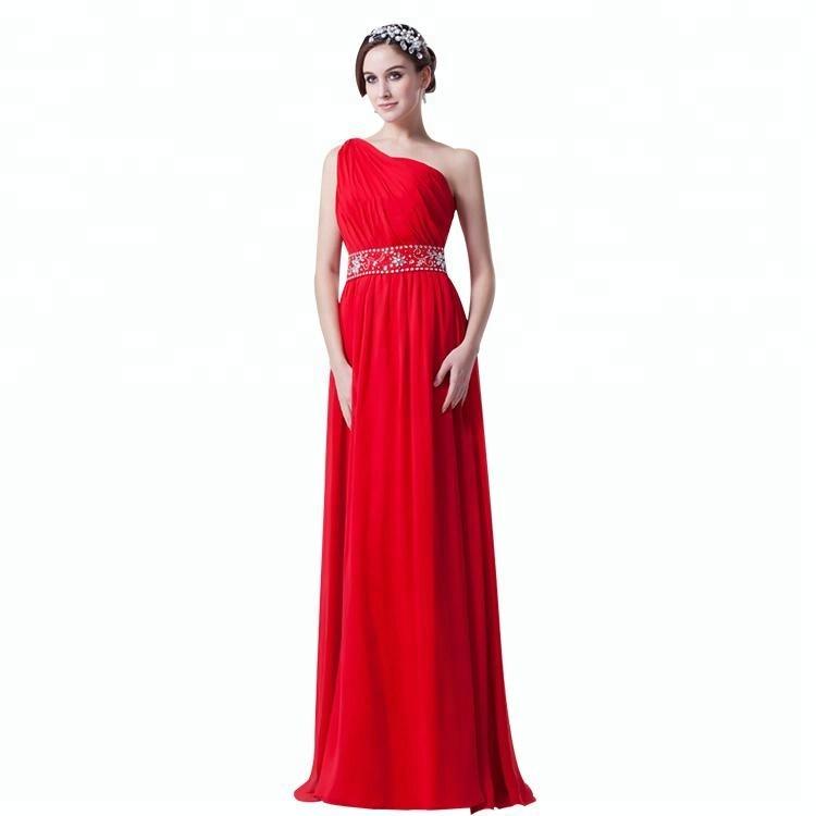 00a64b31ee4bb24 Одно плечо бисером длина пола длинный Вечер шифон линия платье для вечеринки