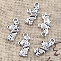 Antique Tibetan Silver Charms Pendants bear flowers charms jewelry making 19*9mm