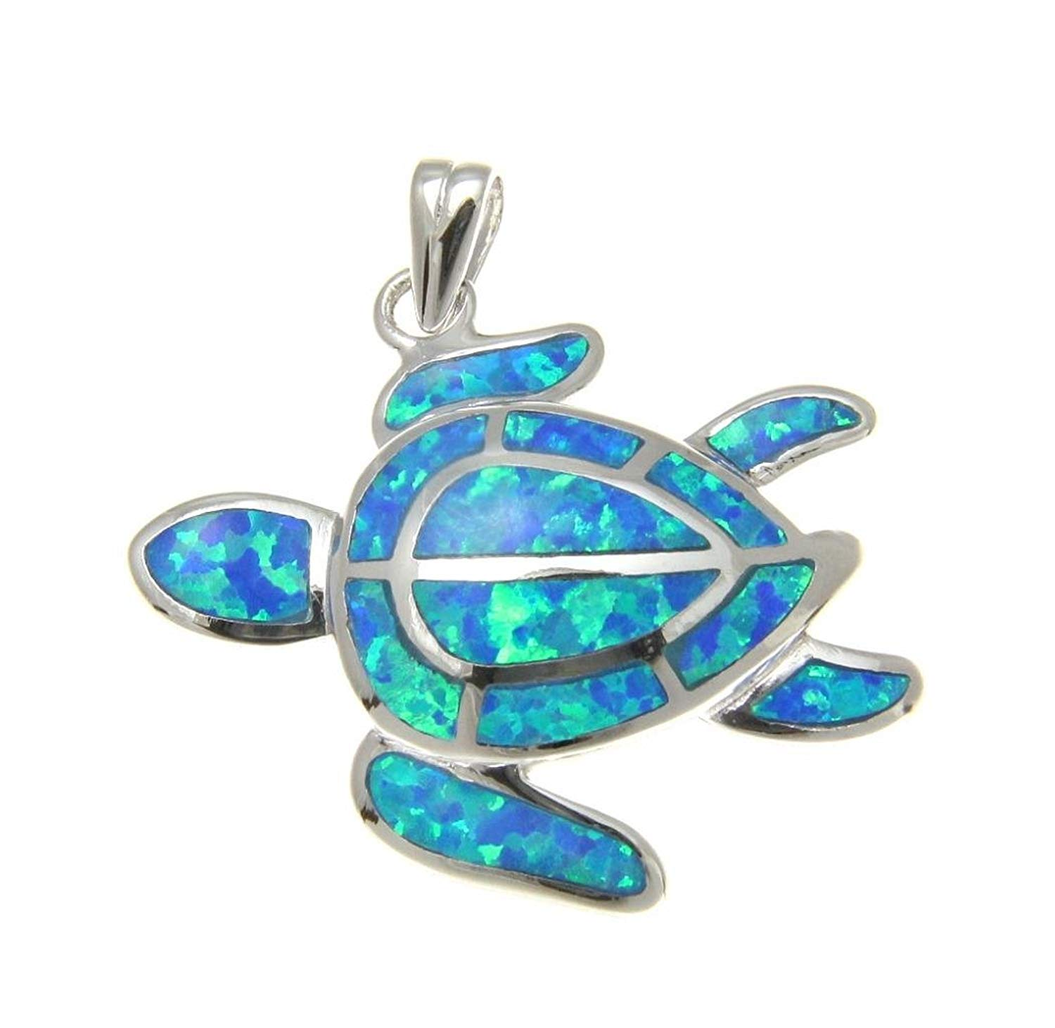 925 Sterling silver Hawaiian honu sea turtle blue synthetic opal pendant charm 22mm