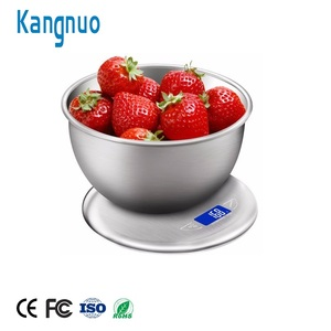 201 Stainless Steel 5Kg 11Lb Round Food Electronic Kitchen Scale With Bowl
