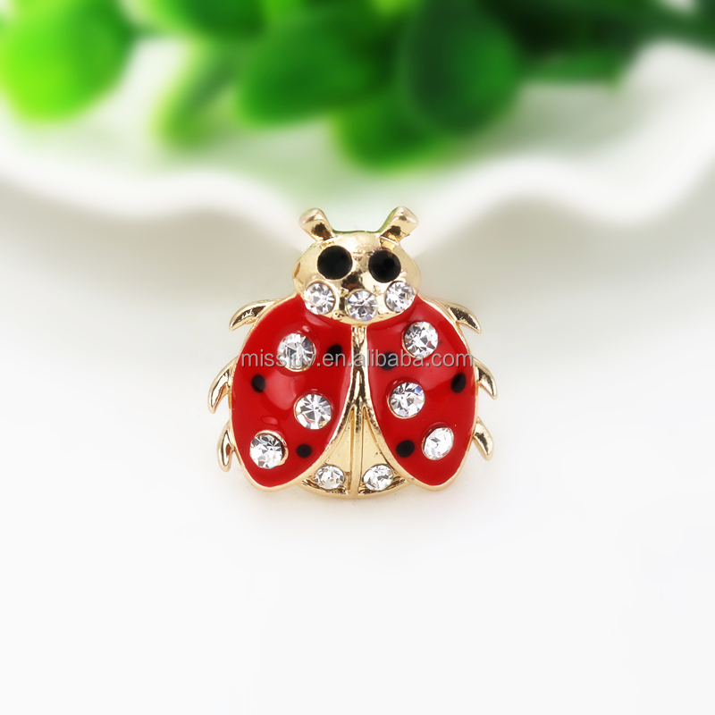 rhinestone enamel animal ladybug brooch pin red enamel ladybug brooch with crystal