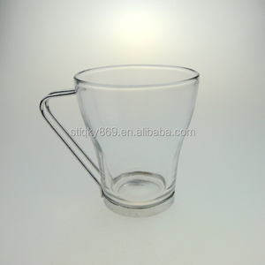 glass coffee mug with stainless steel handle glass coffee mug wholesale price glass cup with stainless steel handle