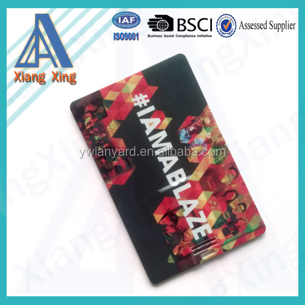 Hot! Sublimation printed plastic USB card, USB flash drives card for small give