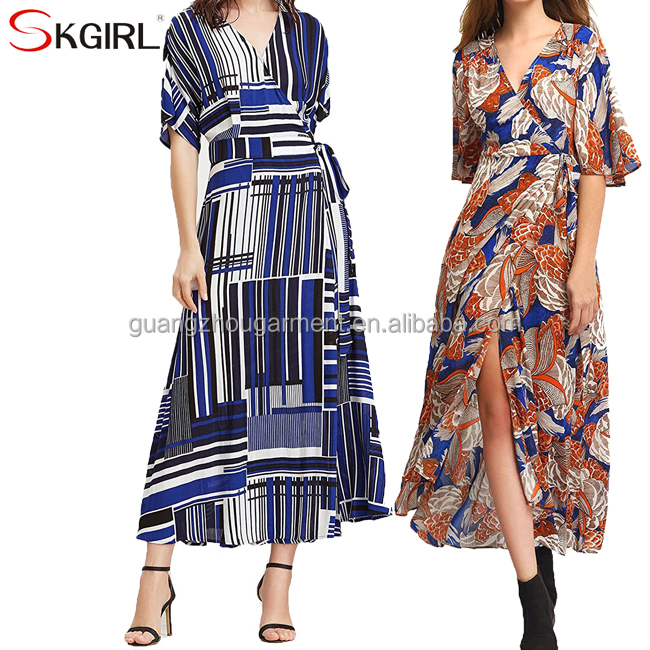 Vintage boho print split tie-waist one size fits all summer maxi dresses for women