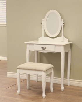 Vanity Dresser Stool Mirror Set Girls Kids Child Dressing Table