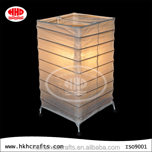 Oblong foldable bamboo structure white paper table lampshade