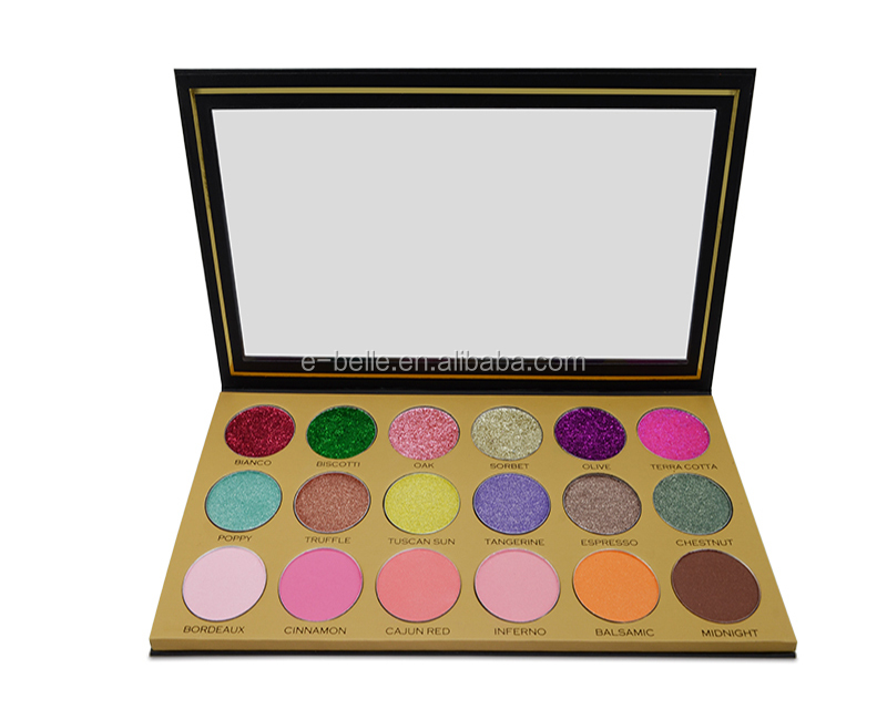 Private label makeup cosmetics 18 color high quality shining glitter eyeshadow palette