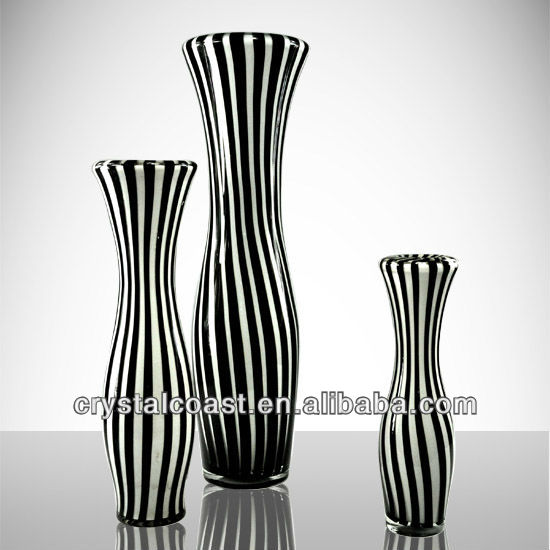 Tall Black And White Glass Vases Wholesale For Restaurant Ceramic Vase For Flower Arrangement