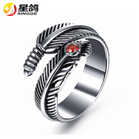 New Arrival Cool Retro Leaf ring men unique design 316L stainless steel feather ring jewelry exquisite men rings wholesale
