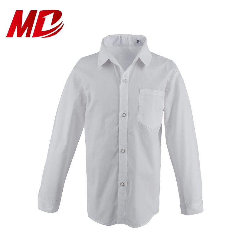 Wholesale Customize School Uniform Shirt White Long Sleeve Shirt for Boy