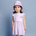 New 2016 Baby Girl Clothes Cute Sweet Costumes For Girls Plaid Designs Butterfly Embroidery Dress For