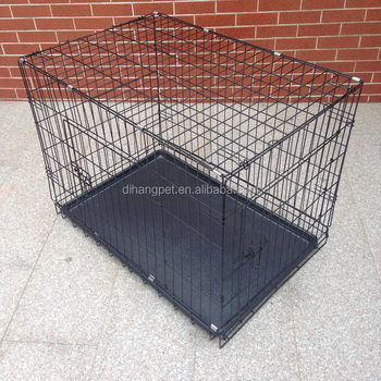 Dog cage wholesale black dog crate with plastic pallet for Pallet dog crate
