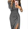 Lady bag hip slit one-word collar dress sparkling dress dinner party dress