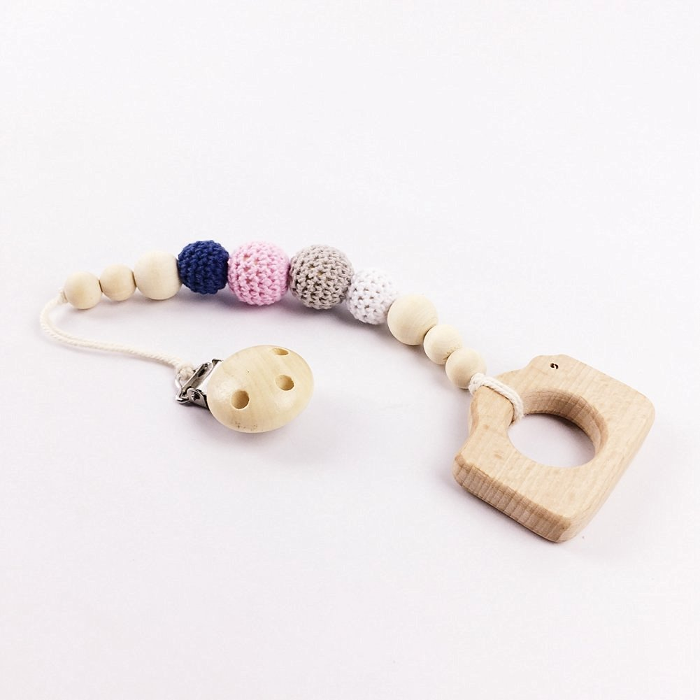 Baby Clip Crochet Beads Braided Pacifier Clip Chew Wooden Beads Teething Jewelry Safe Nature Baby Shower Gift (LJ509)