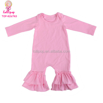 517b2abca3f0 Solid Pink Boutique Infant Toddler Clothes Kids Long Sleeve Bella Ruffle  Leg Rompers Newborn Baby Ruffled