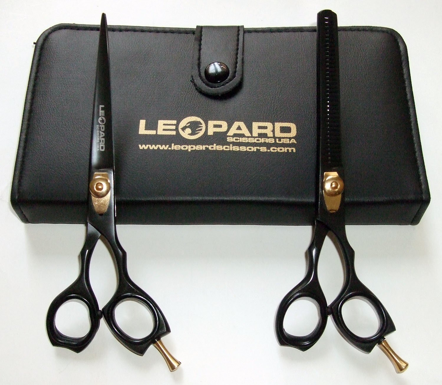 "Professional Barber Hairdressing Shears Right Hand Scissors & Thinner Hair Cutting Shears Barber Salon Styling Scissors Set 6"" Japanese Steel with Free Case Ls-600"