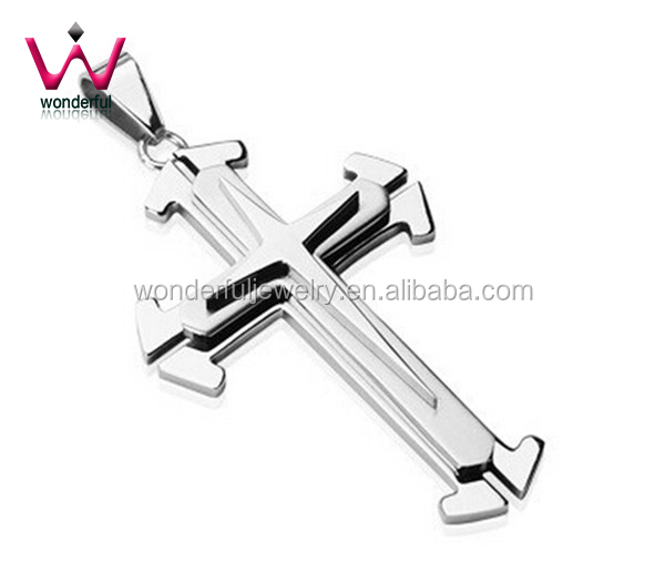 Hot Sale Perfection Designed Stainless Steel Jewelry Beautiful Three Layered Cross Pendant