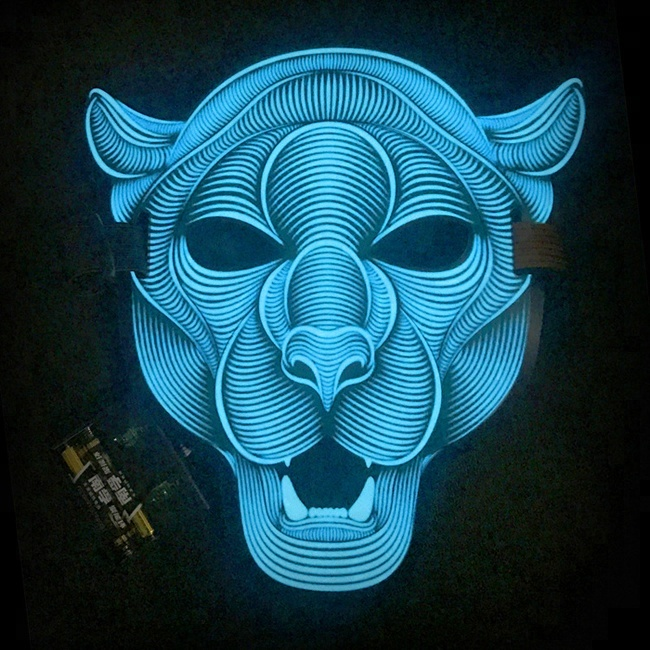Music Reactive Led Light Up Cool Masquerade Sound Activated El Panel Mask  For Halloween Party - Buy El Panel Mask,Sound Activated El Mask,El Wire  Mask