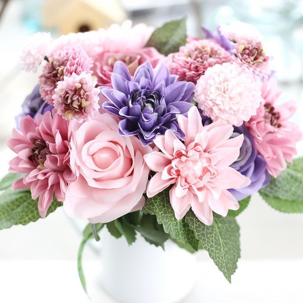 Cheap daisy bunch find daisy bunch deals on line at alibaba get quotations meiliy 1 bunch 8 pcs artificial rose dahlia daisy flower bouquet bride bridesmaid holding flowers for izmirmasajfo