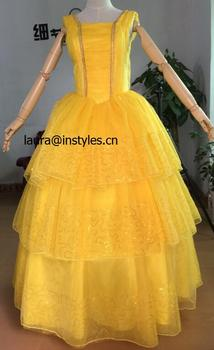 Adult Beauty The Beast Princess Belle Cosplay Costume Ball Gown