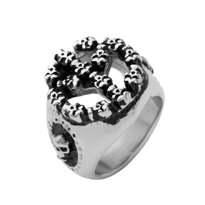 RS024 Yiwu Huilin Jewelry Trendy SKULL hiphop street rock ring Peace Symbol Stainless Steel Men's Rings