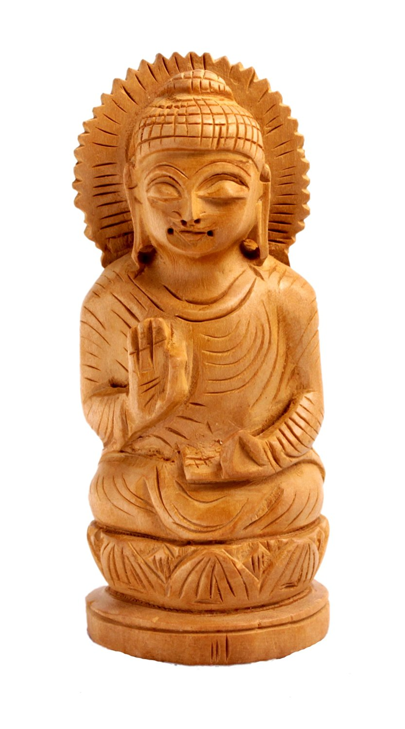 """Krishna Mart India Hand Carved Wooden Meditating Lord Buddha Ethnic Statue Size 4.3"""" By 1.7"""" Inches"""