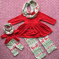 3PCS Doll Size Matching Baby Size Outfit Baby Girls Infant Party Outfits Newborn Outfit X-mas Clothing Sets Dress Up