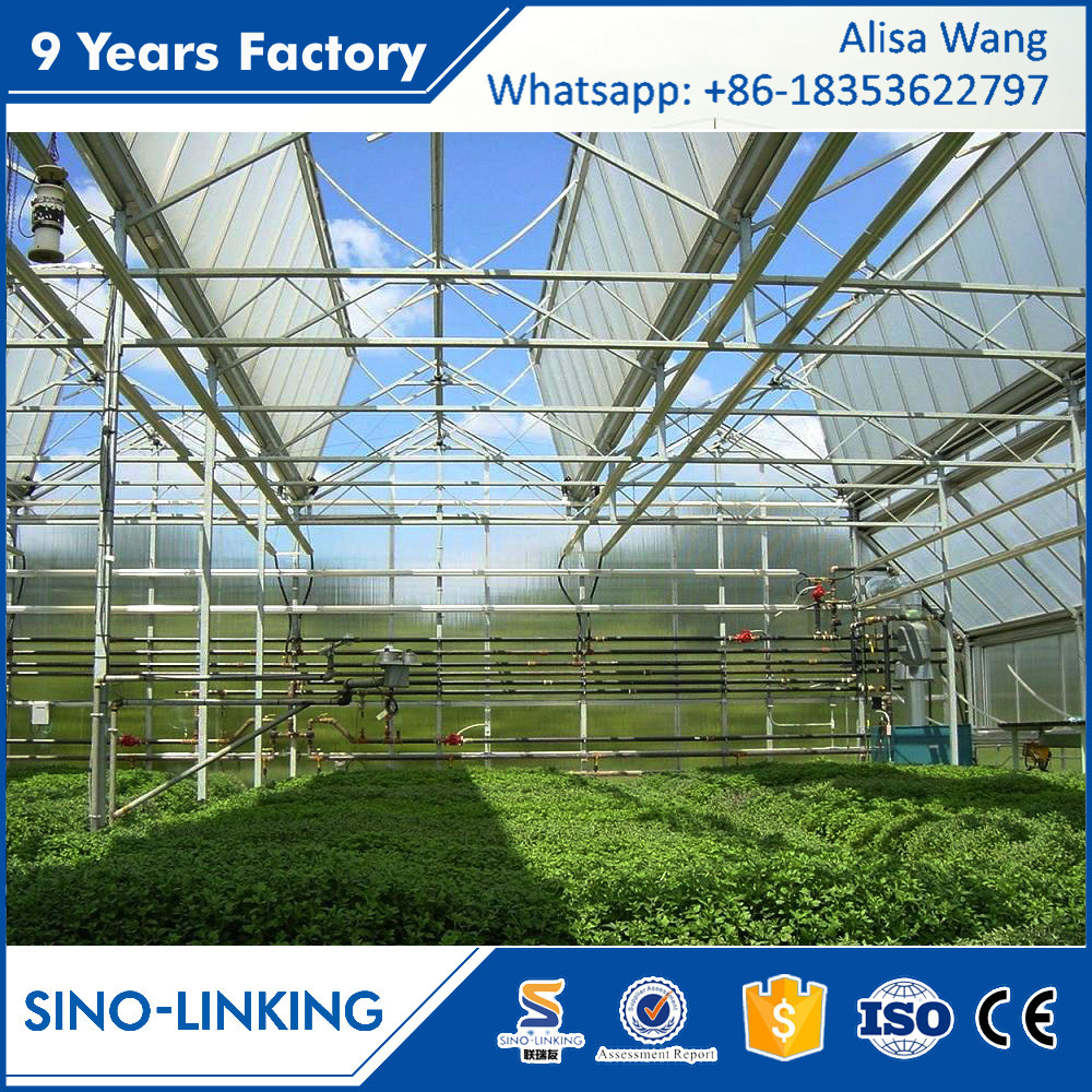 SINOLINK supply adjusting the temperature evaporative cooling pad grow light plastic Polycarbonate greenhouse