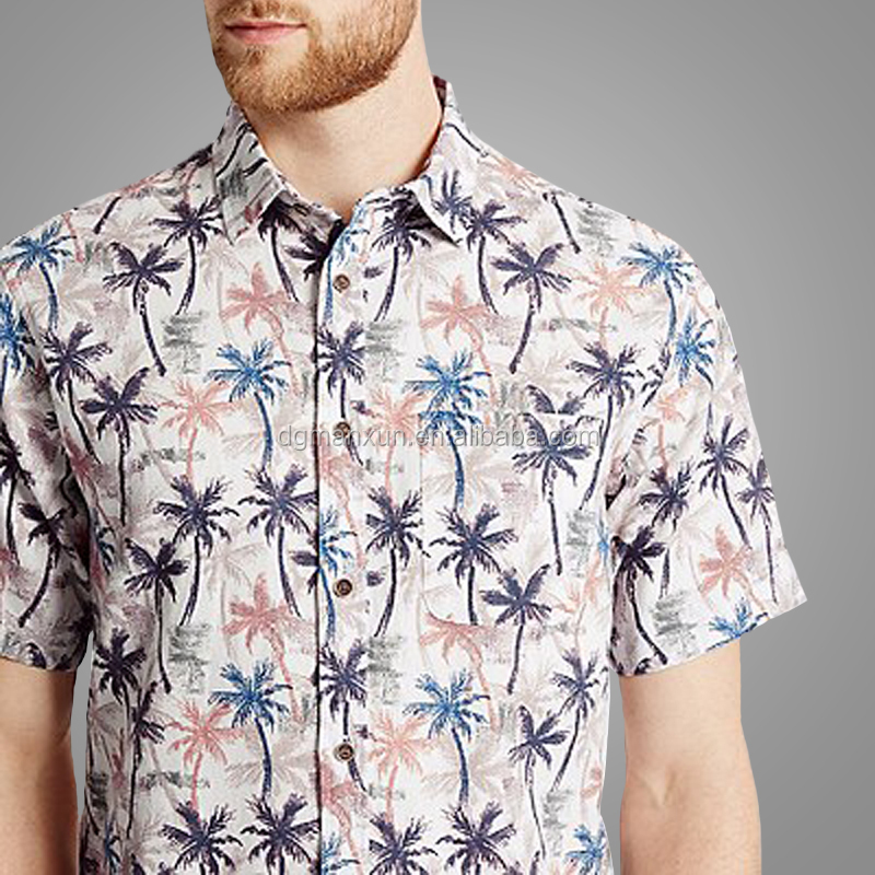Fashion Western Style Short Sleeves Tops Men Pure Cotton Printed Shirt With Pocket