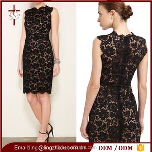 Sexy Black Bodycon Lace Dress With Tan Slip And Invisible Zip