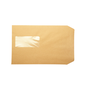 Natual brown recycled kraft c4 size paper envelope with window