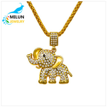 2017 new 18k gold elephant pendant hip hop style necklace gold rope 2017 new 18k gold elephant pendant hip hop style necklace gold rope chain necklace aloadofball Choice Image