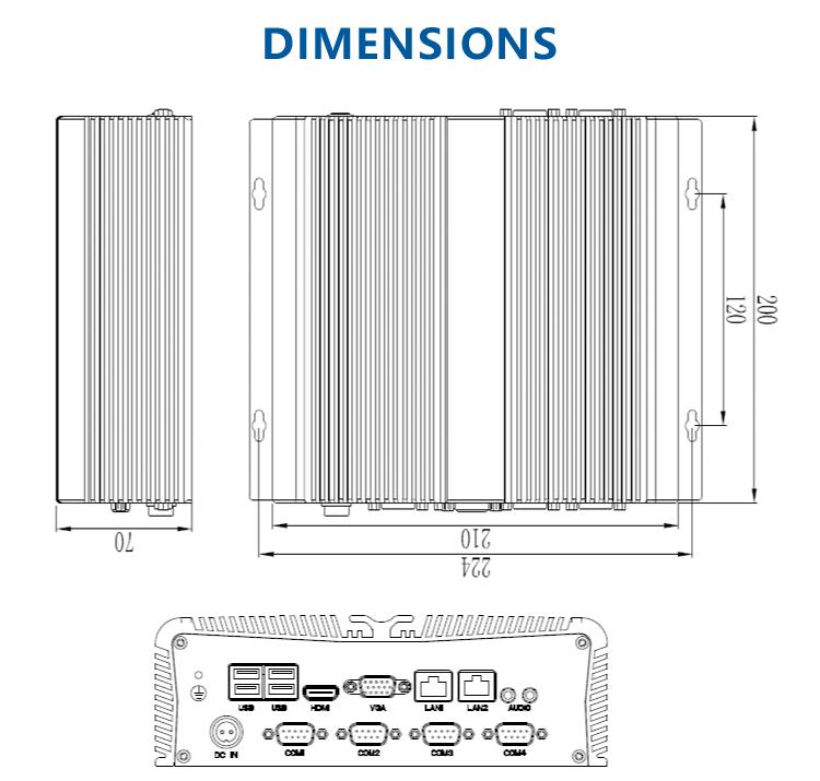 低電力i3 i5 i7 デュアルディスプレイファンレス産業用mni pc、 2 lan