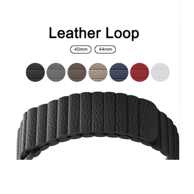 Adjustable Magnetic Genuine Leather Loop for Apple Watch Band 42mm 38mm 40mm 44mm Strap Belt Link Bracelet for Iwatch 1 2 3 4, Black;blue;brown;red and white