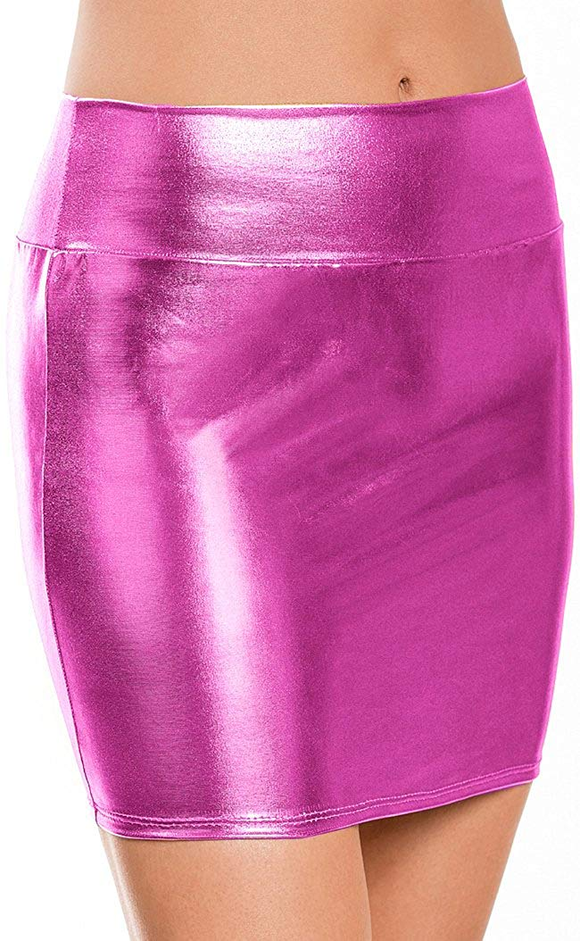 fb0d66e95e Get Quotations · One Size Patent Leather Wet Look Pole Dance Shiny Skirt