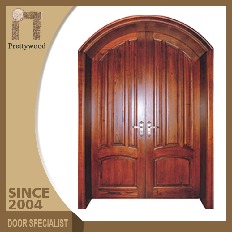 Classical Natural Thai Oak Solid Wood India Entry Door Arch Designs