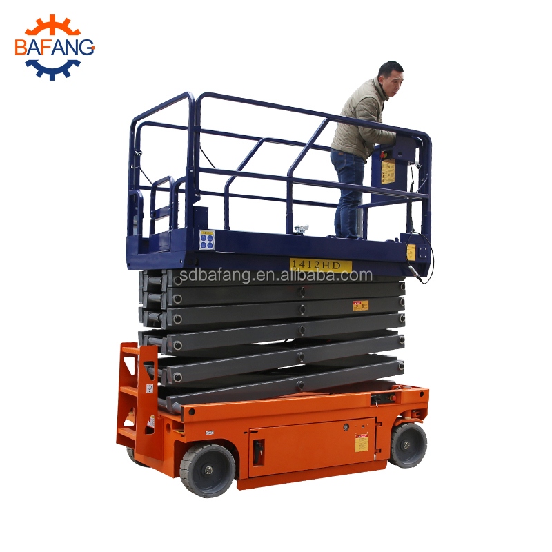 Electric platform lift with foul wheel