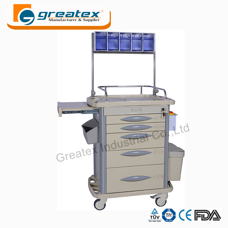 With ss guard rails hospital multifunction emergency cart vet anesthesia trolley for medical