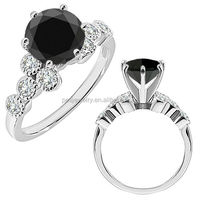 PES Fashion Jewelry! Black Diamond 14K White Gold Fancy Solitaire Cluster Wedding Bridal Ring (PES6-1610)