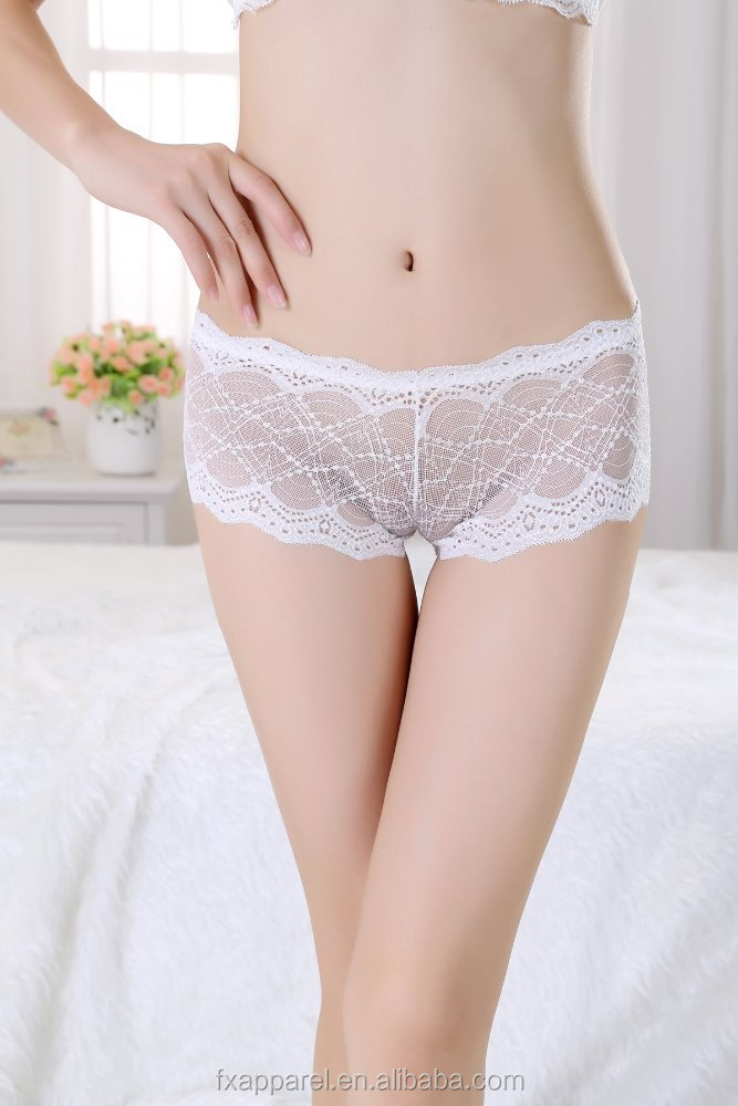 6ed934b1dba0 White sheer mesh sexy boyshort panties