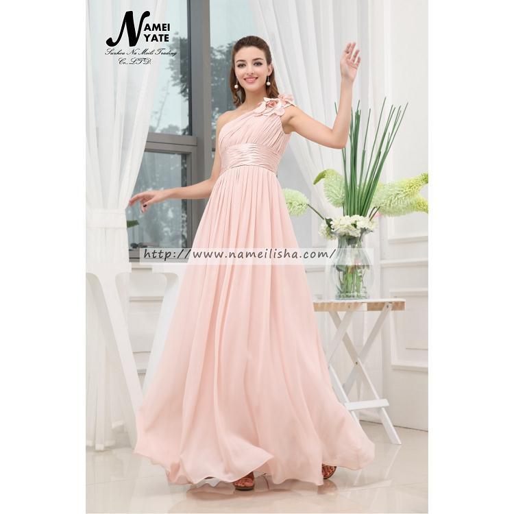 Venta al por mayor vestidos de noche rosa perla en gasa-Compre ...