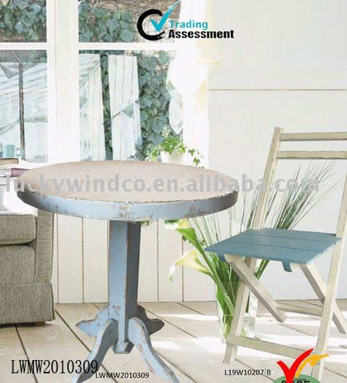 Shabby Retro Jute Top Pedestal Round Wooden Table Solid