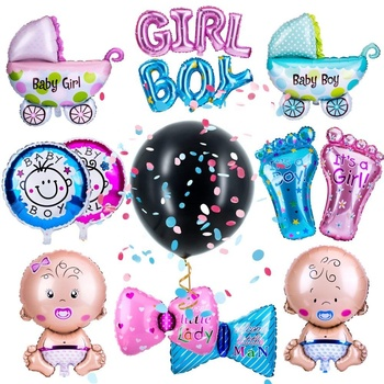 New Style Boy or Girl Balloon Paper Fans Photo Props Gender Reveal Party Supplies Kit for Baby Shower Decoration
