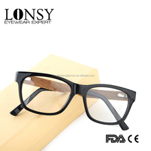 new arrival new design acetate optical frames with wood laminate temples eyeglasses LS6904-C1