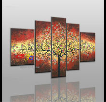Hand-painted money tree Abstract Oil Painting with Frame - Set of 5