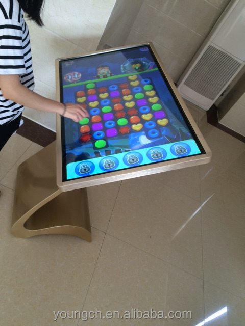 55 inch touch screen table with metal frame golden anodized color with fun software included for chat rooms and parlors
