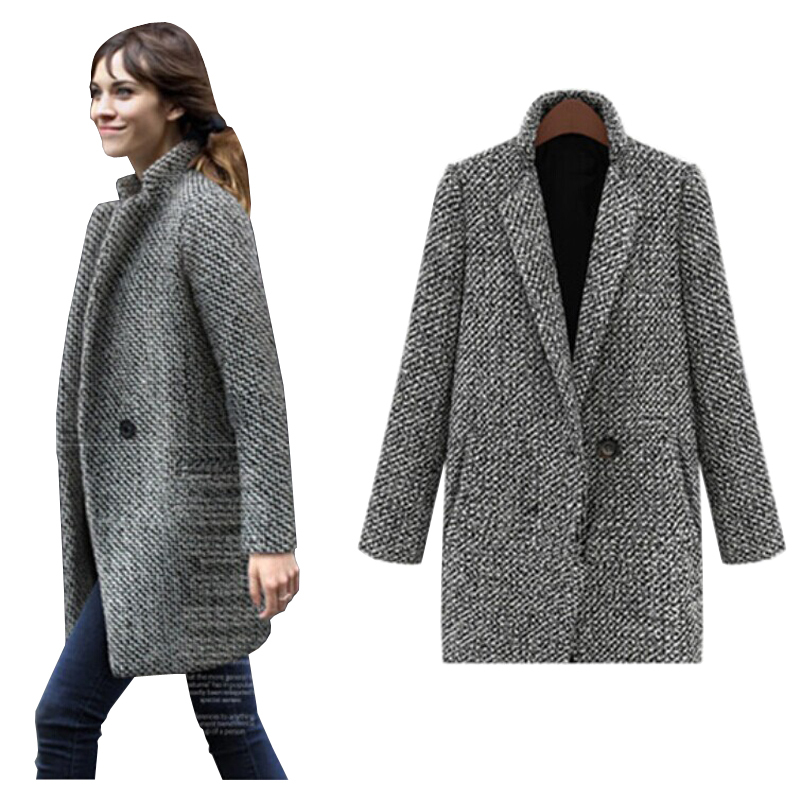 8dd4a17a45c Get Quotations · 2015 New Elegant Coat Women Winter Wool Coats Plus Size  Grey Warm Trench Laides Velvet Thick