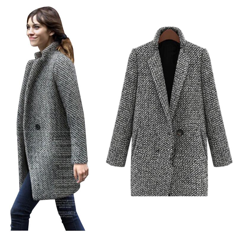 Buy Winter Coat Women Warm Khaki Wool Coat Women Clothing Fashion ...